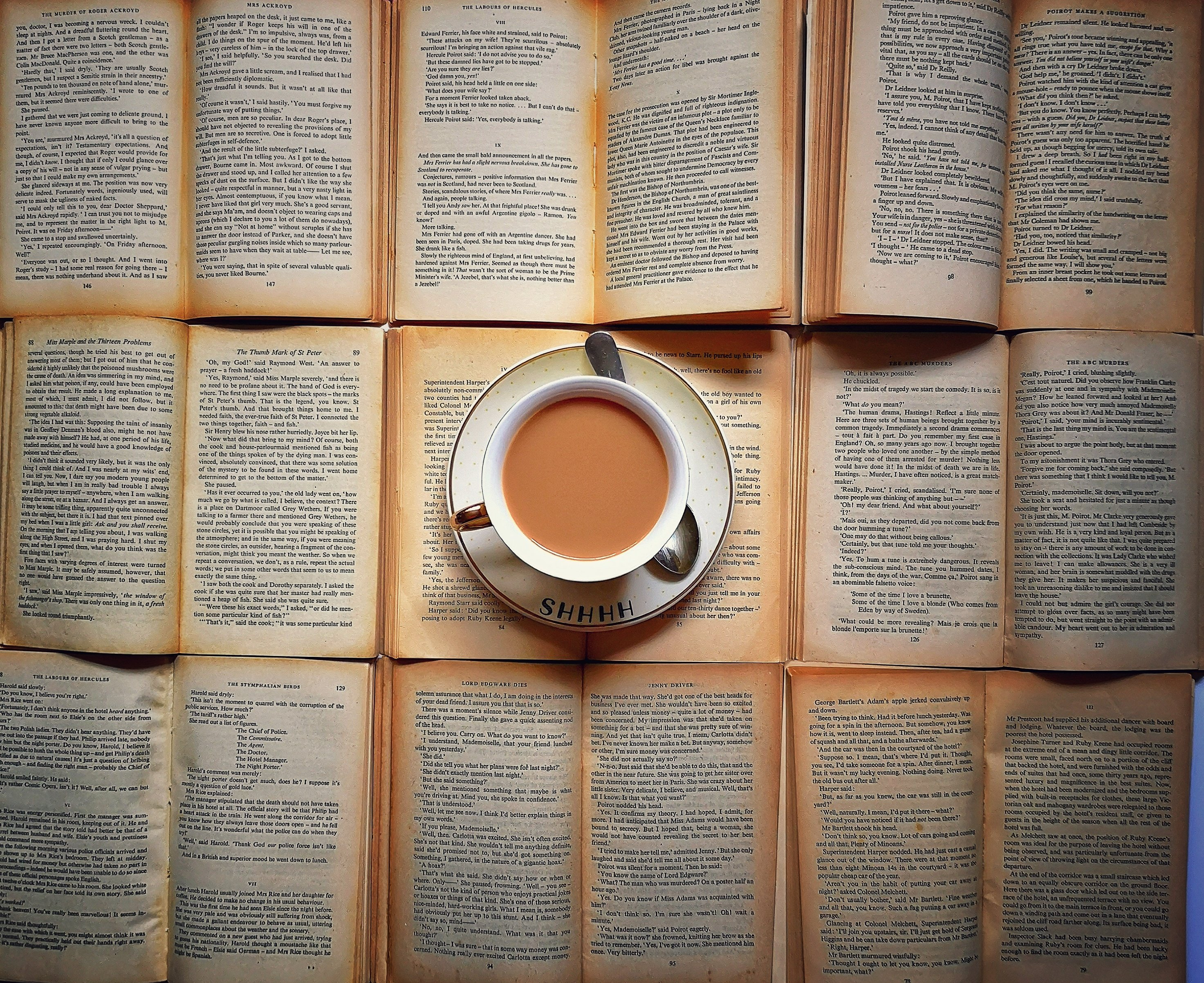 Teacup on top of vintage books.